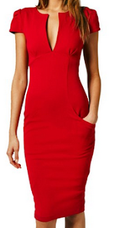 red womens deep v neck dress