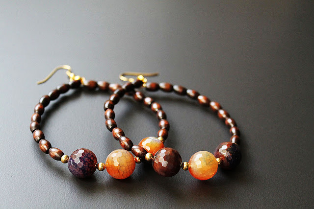 African Natural Stone Wood Hoop Earrings