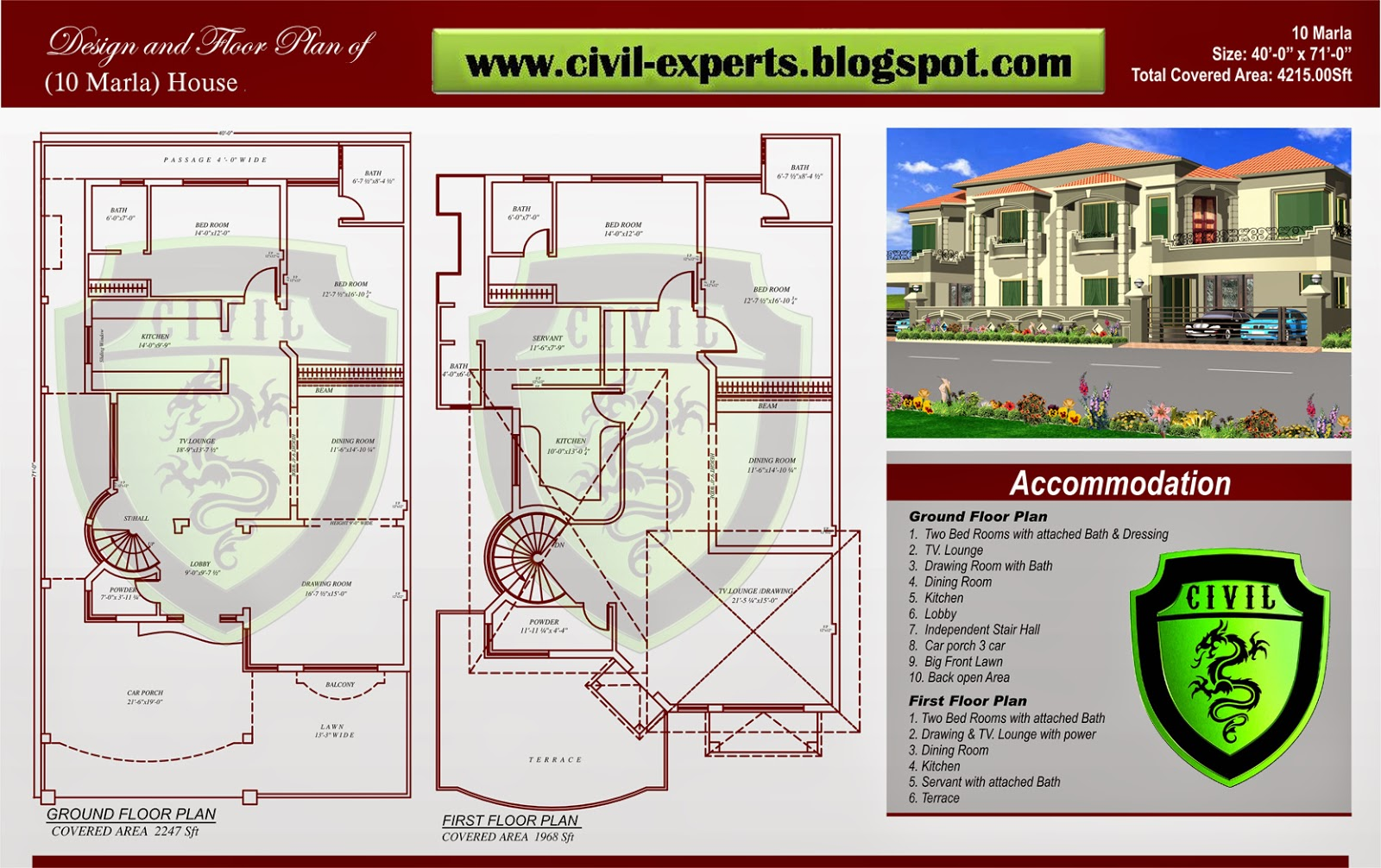 Civil experts 10 marla house plans for 10 room house plan