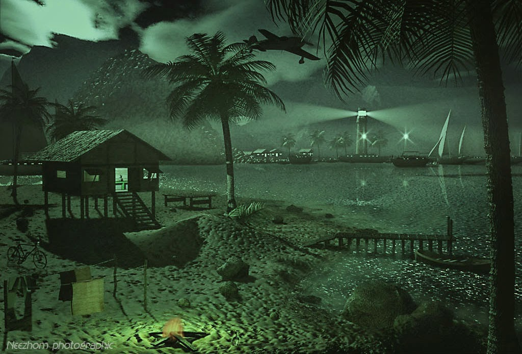 malay kampung beside the beach 3d graphic picture