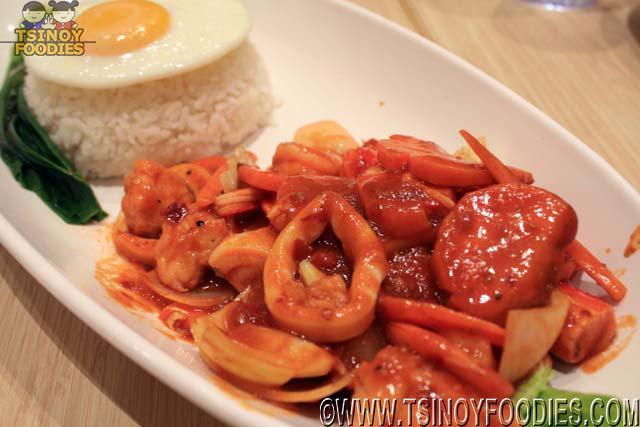 sambal seafood with egg and rice