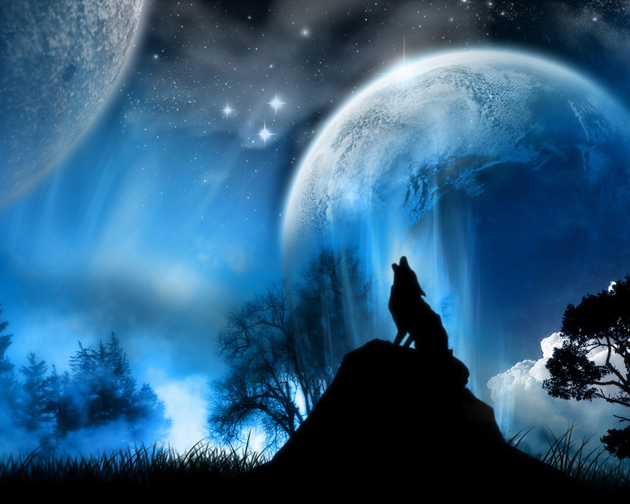 3D Wolf Laptop Wallpaper