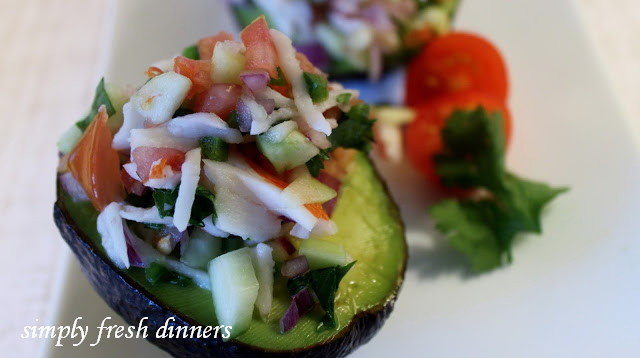 avocado halves cilantro lime chicken salad on cilantro lime crab salad ...