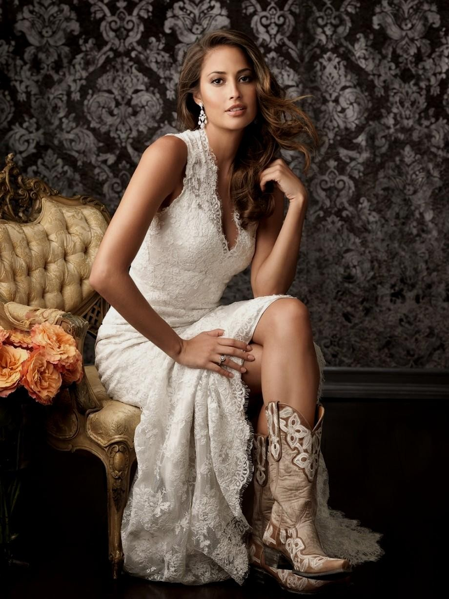 white short wedding dresses with cowboy boots