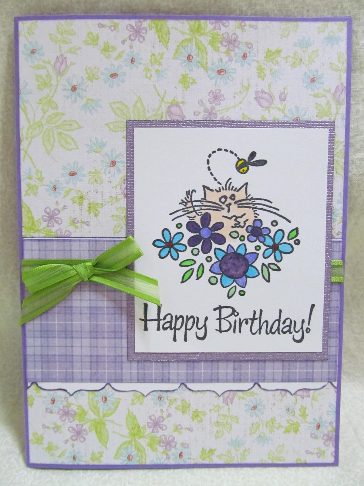 Savvy Handmade Cards Floral Cat Happy Birthday Card
