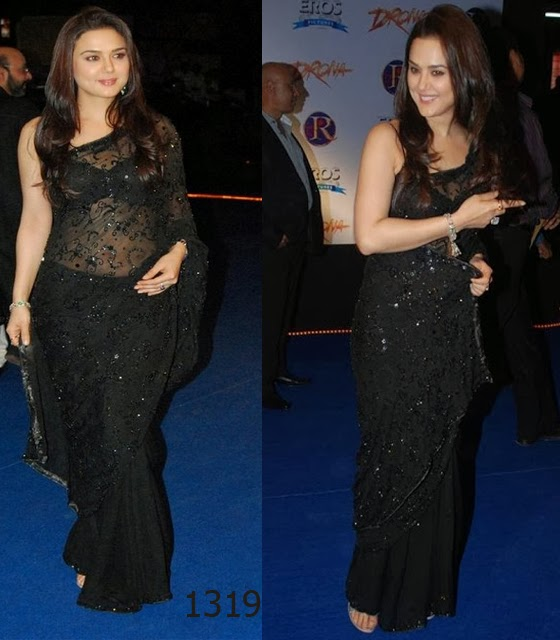 preity zinta in black saree at movie drona premiere