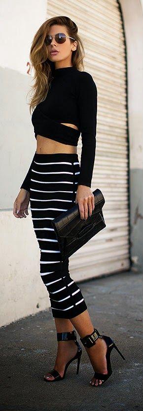 Native Fox - Striped skirt, black top