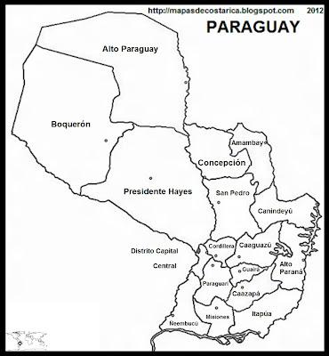 Mapa de la organización política de PARAGUAY, nombre de las regiones, blanco y negro, (mapa grande)