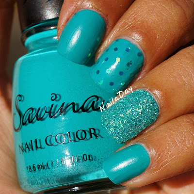 NailaDay: Savina Marine Life with loose glitter skittlette