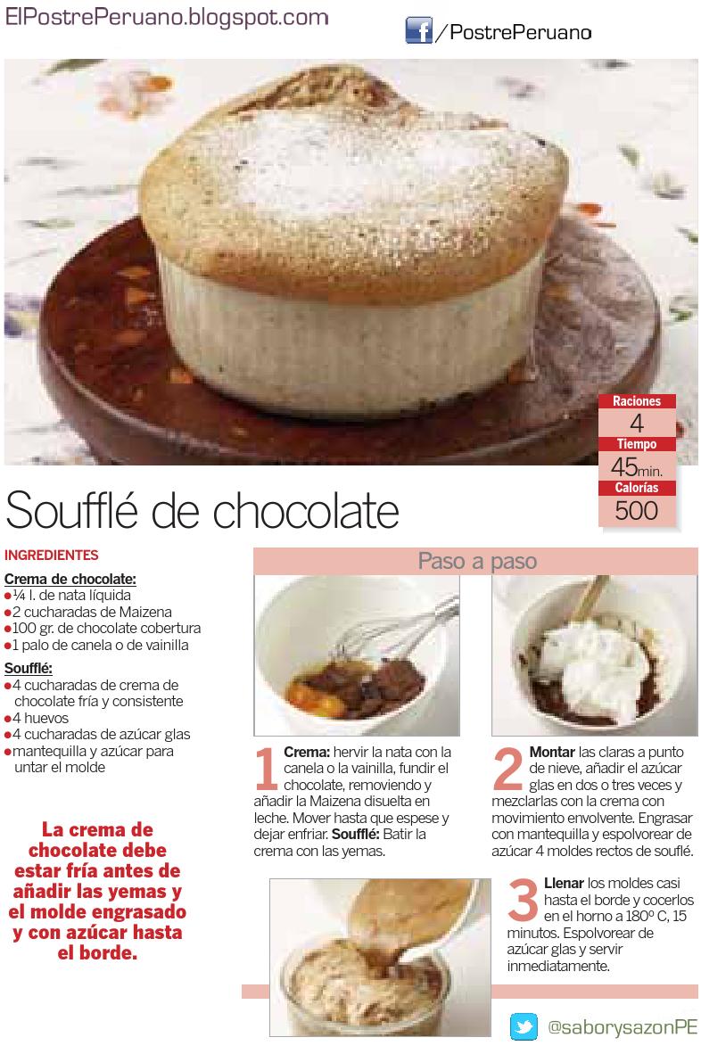RECETA SENCILLA - SOUFFLE DE CHOCOLATE - Postres con #chocolate - REPOSTERIA POSTRE DELICIOSO