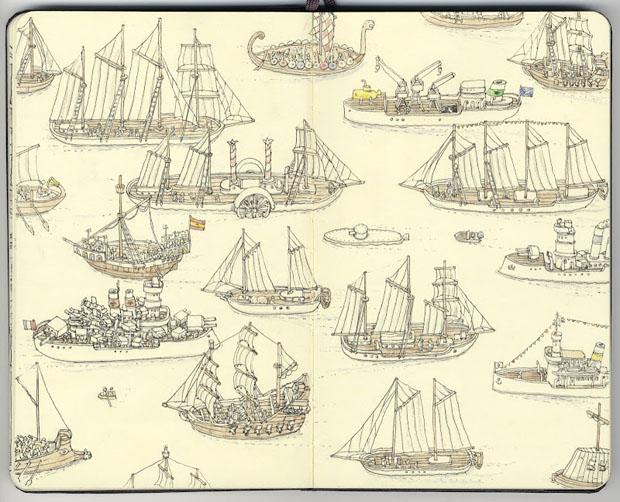 Mattias Adolfsson,dibujos,drawings,moleskine,suecia,sweden,barcos,ships
