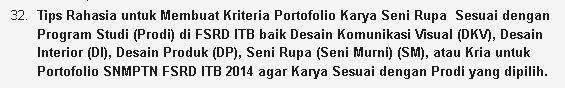 Tips Rahasia Membuat Kriteria Portofolio Sesuai dengan Program Studi (Prodi) di FSRD ITB baik DKV, DI, DP, SM, atau Kria untuk Portofolio SNMPTN FSRD ITB 2015
