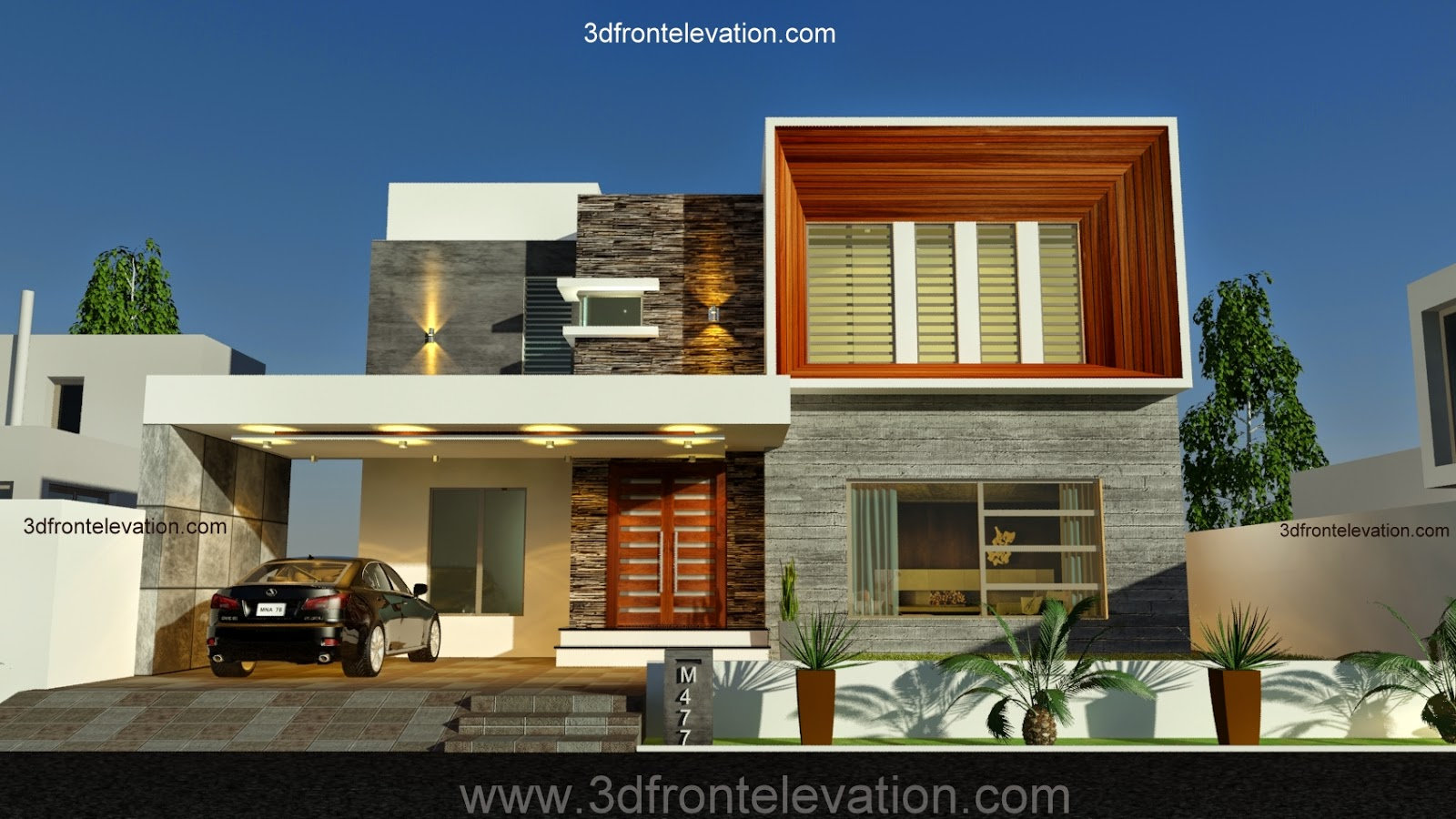 3d front new 1 kanal contemporary house for Modern house front design