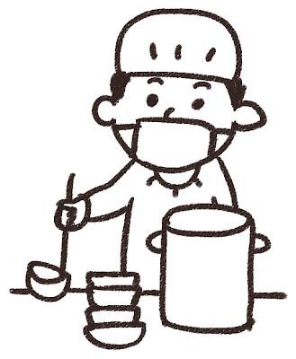 給食係のイラスト 白黒線画