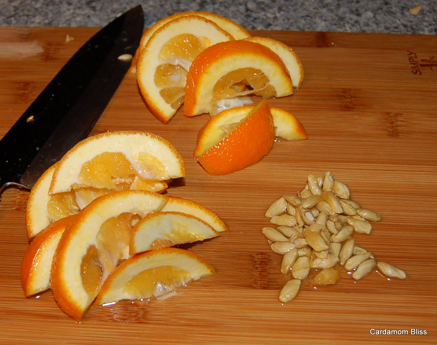 Seeded and sliced but not yet slivered Seville Oranges