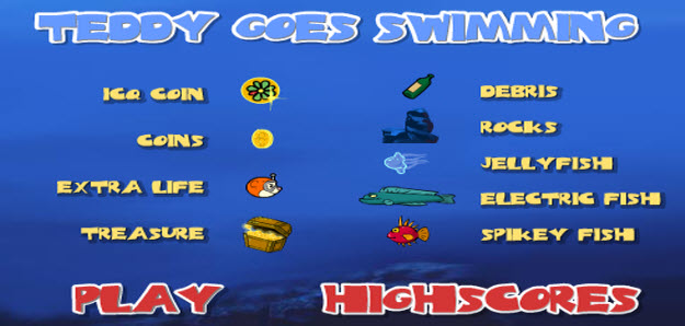 my swf zone, teddy goes swimming, flash game