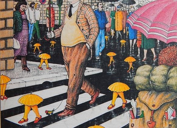 codex seraphinianus, umbrellas, rain, street