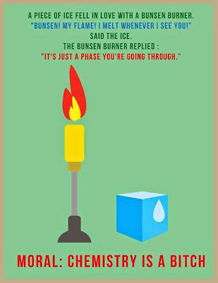chemistry joke Bunsen burner and ice: An impossible love Mechero el hielo: un amor imposible
