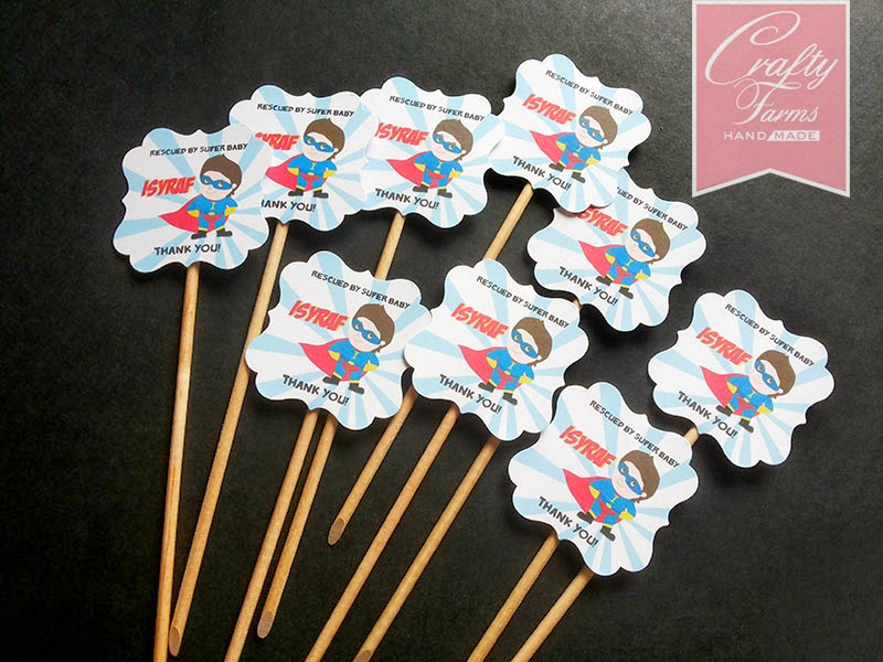 creative superhero theme cupcake toppers for first birthday or baby shower
