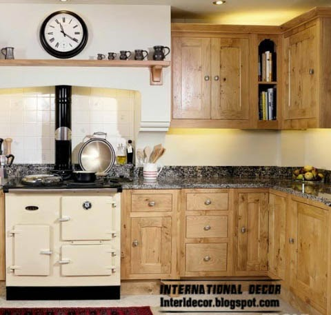 sweet L-shaped kitchen designs, Oak cabinets