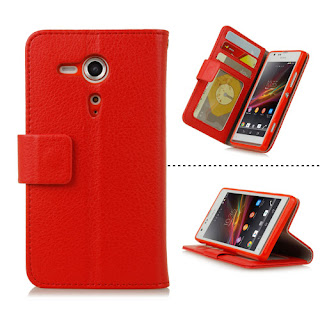 RED PROTECTIVE LEATHER WALLET CASE STAND WITH CC SLOTS FOR SONY XPERIA SP