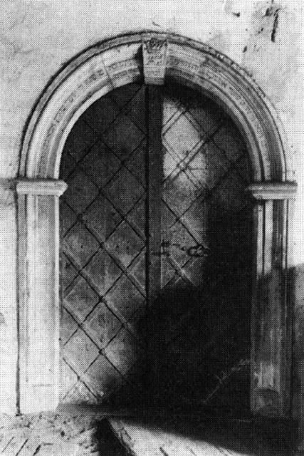 Przysucha, bóżnica murowana. Portal, stan w 1950 r.