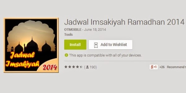 Aplikasi Jadwal Imsyakiyah Ramadhan 2014