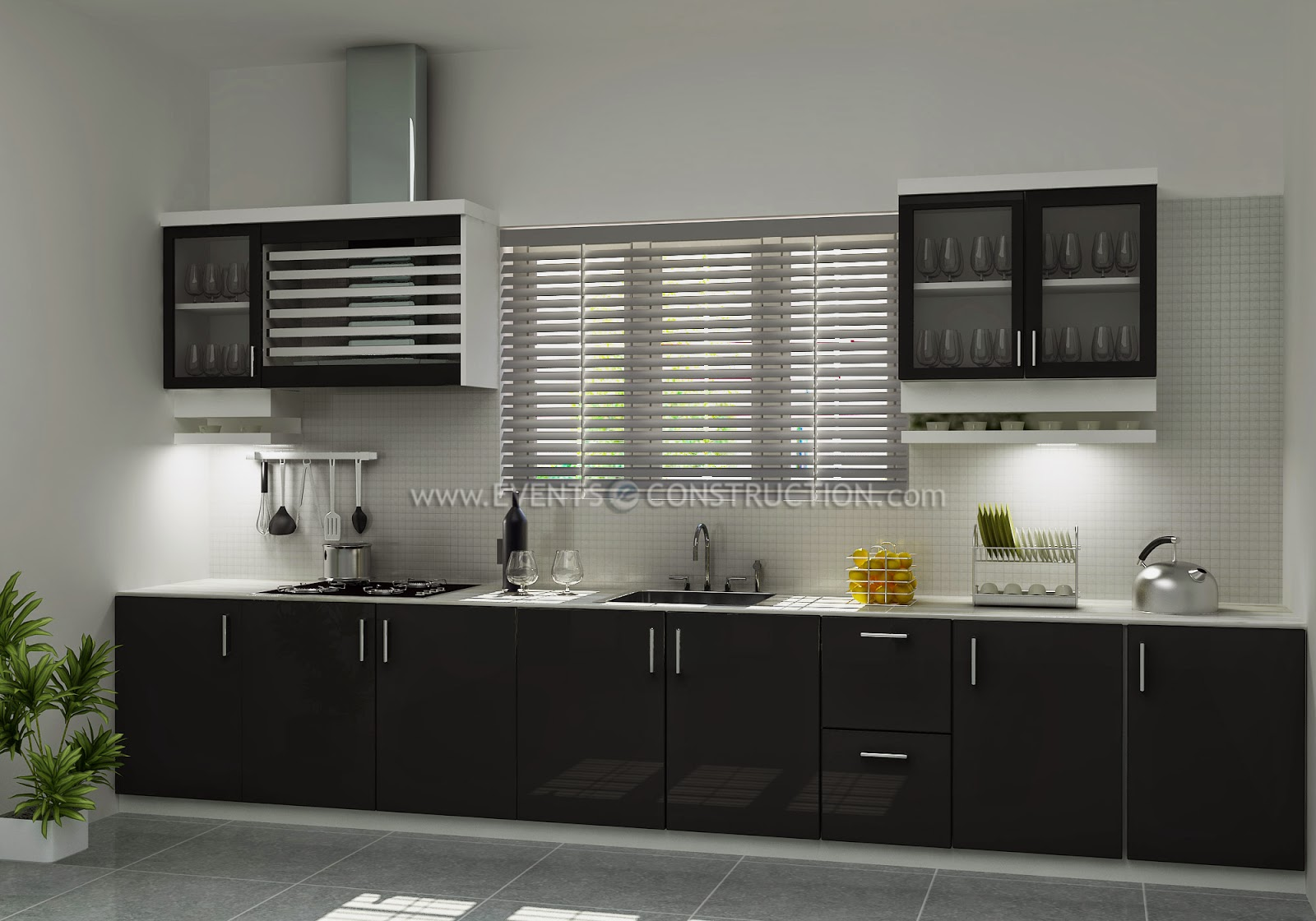 kerala style kitchen design picture. Simple and small Kerala kitchen interior design Evens Construction Pvt Ltd