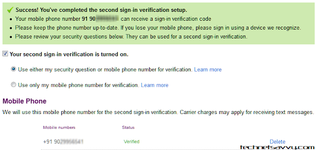 yahoo 2 step verification screenshot
