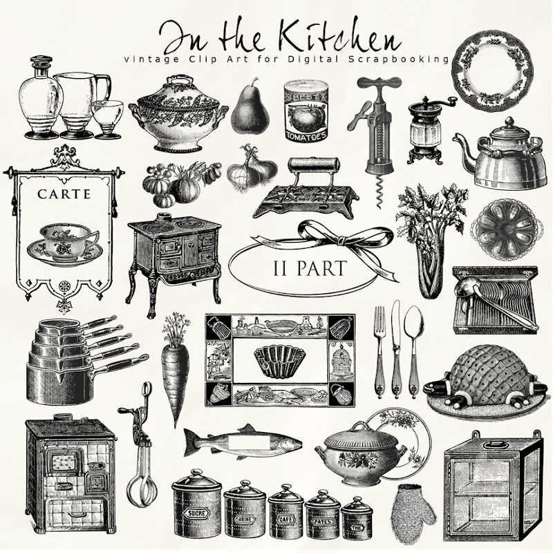 Retro Kitchen Illustration: Freebies Vintage Style Kit:Far Far Hill