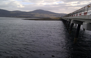 Ebbing tide under Kyle of Tongue bridge