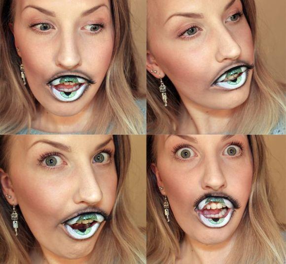 Sandra Holmbom auto-maquiagens criativas e bizarras Olho na boca