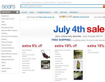 Sears homepage
