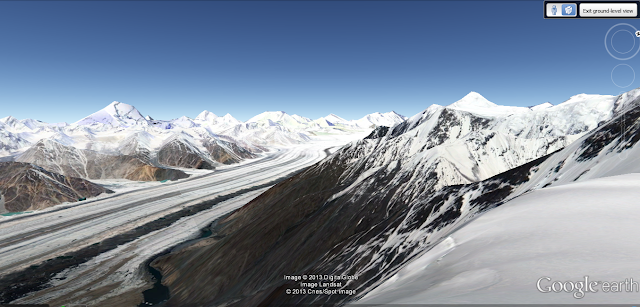 oogle Earth image of Siachen glacier from an elevation of 15009ft