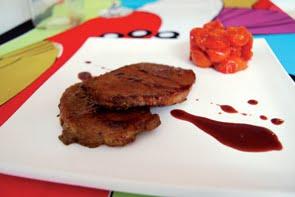 Lonza di maiale al vino rosso con pomodorini al miele