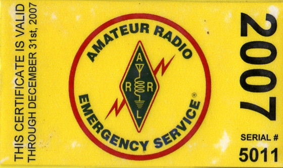 2007 Connecticut CT REGION 5 Connecticut Amateur Radio Emergency Service (CT ARES) Card