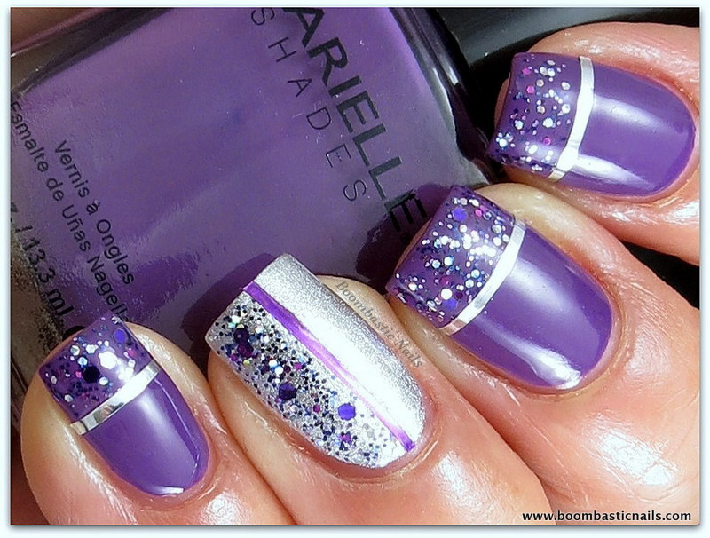 Boombastic nails glitter striping tape nail art i placed some striping tapes in purple and silver then added purple hearts a topcoat with various silver and purple sizes of glitter lets take a look prinsesfo Gallery