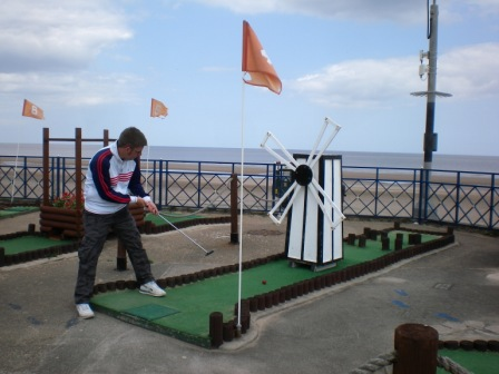 crazy golf windmill