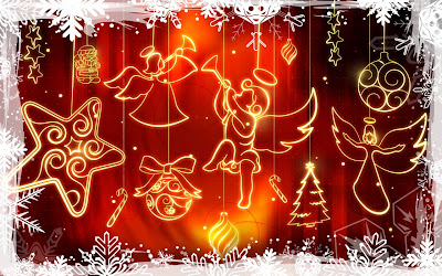 Papel de Parede Enfeites e Anjos de Natal