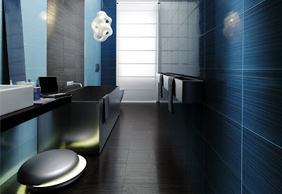 baño color azul