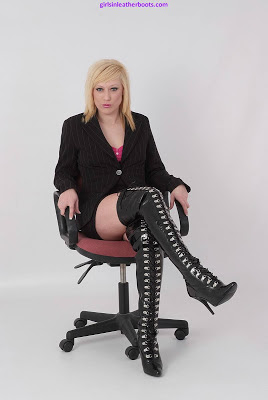 Slutty Secretary in Shiny Leather Stiletto Thigh Boots