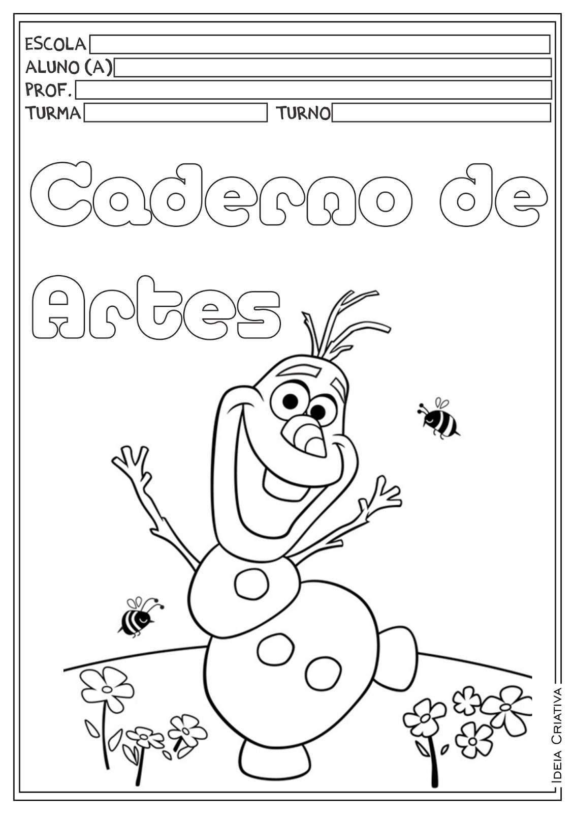 Capas para Cadernos Frozen para Ensino Fundamental