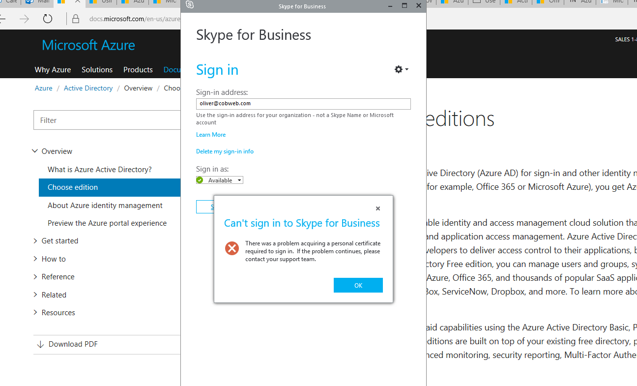 Wave16 skype for business there was a problem acquiring a httpssupportmicrosoften ushelp2604176you can t sign in to skype for business online because the certificate can t be acquired or validated xflitez Gallery