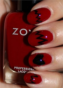 Maroon and Black Cracked Nail Art