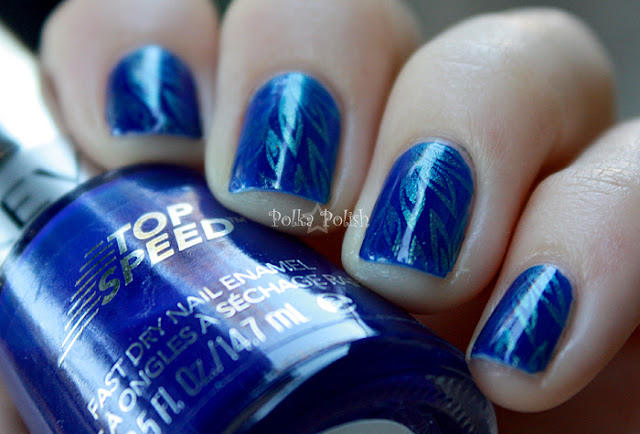 blue revlon royal nails stamped with teal duochrome nicole mer-maid for each other