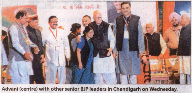 Advani (centre) with other senior BJP leaders Sushma Swaraj, Satya Pal Jain, Prem Kumar Dhumal in Chandigarh on Wednesday.