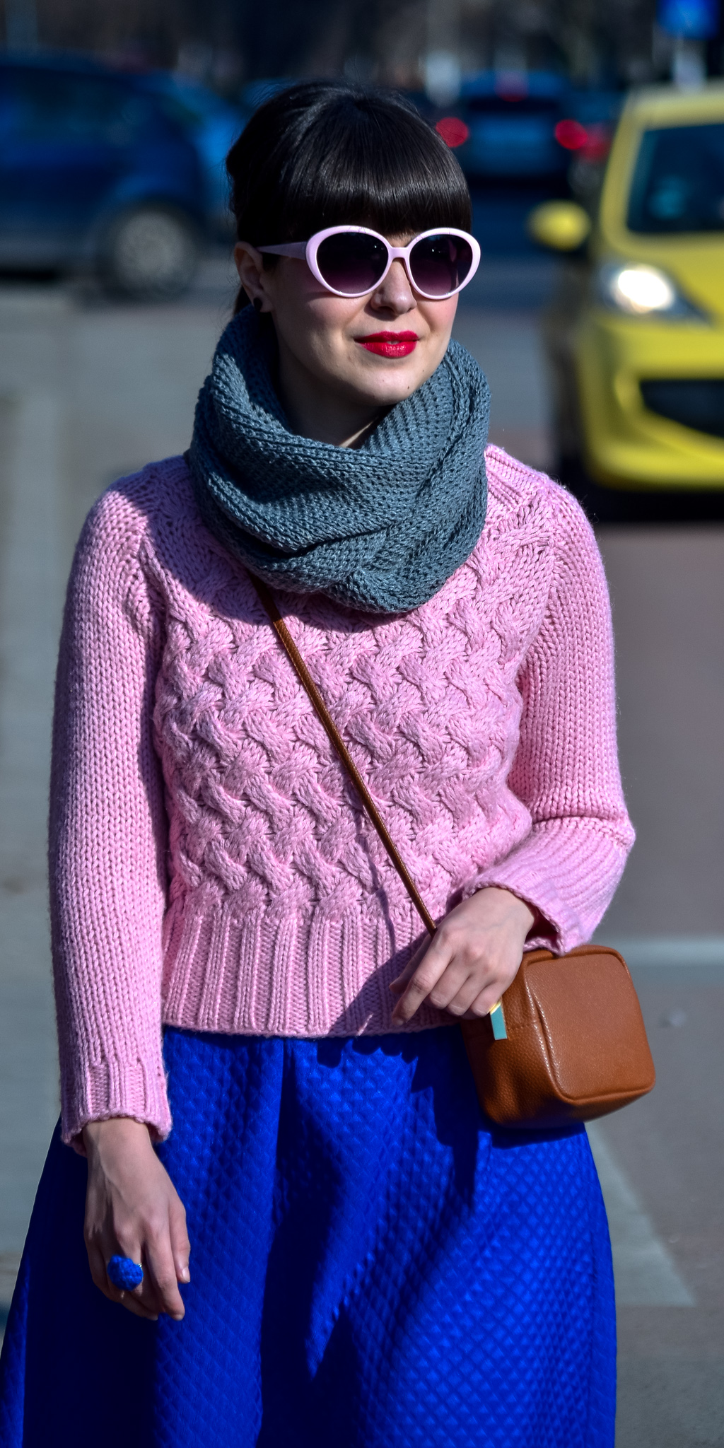 dusty pink sweater cobalt blue skirt koton brown bag satchel H&M grey scarf pinkish heels pink eyeglasses spring