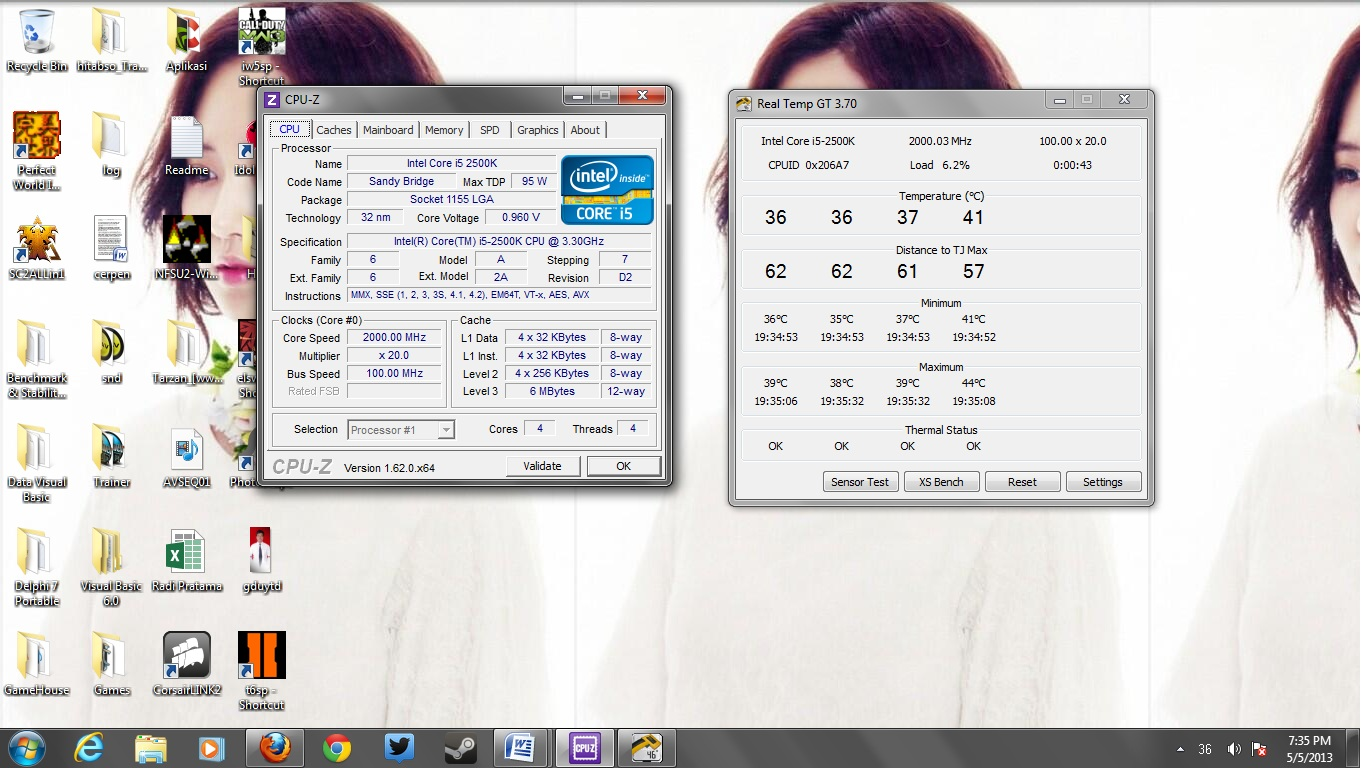 Suhu idle Processor @2.0ghz @0.965v