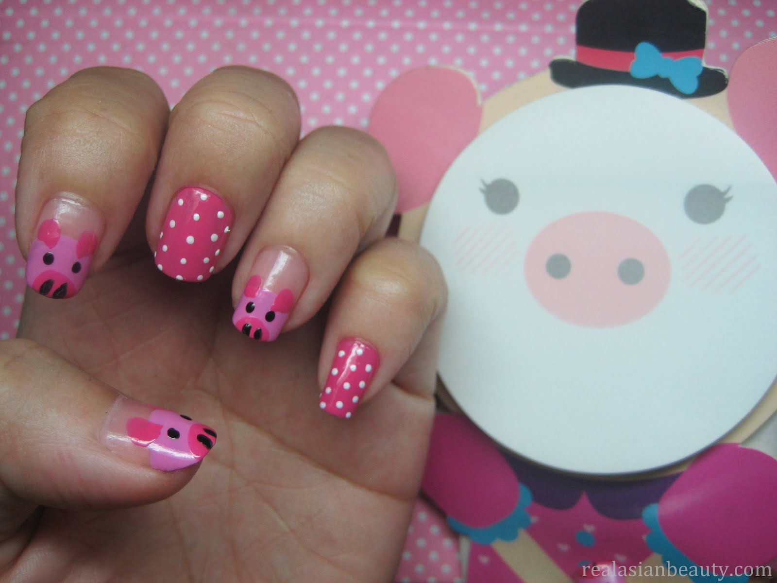 Cute Pig Nail Art Designs : Real asian beauty cute little pigs nail art