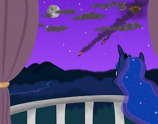 Luna steht nachts auf ihrem Balkon und überblickt Equestria; am Himmel gehen Wrackteile nieder.